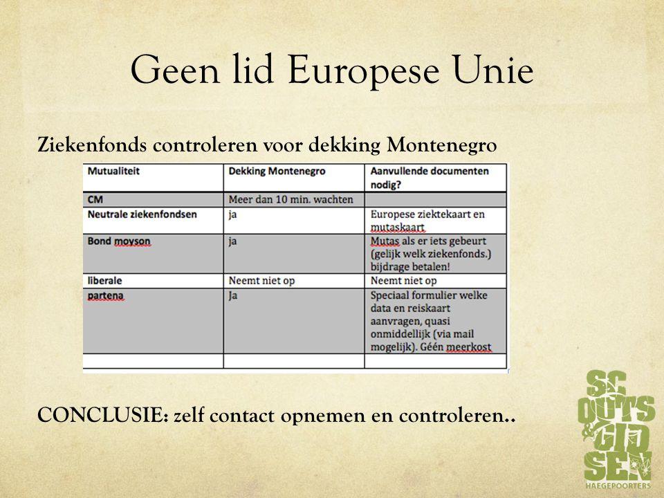 Geen lid Europese Unie Ziekenfonds controleren voor dekking Montenegro CONCLUSIE: zelf contact opnemen en controleren..