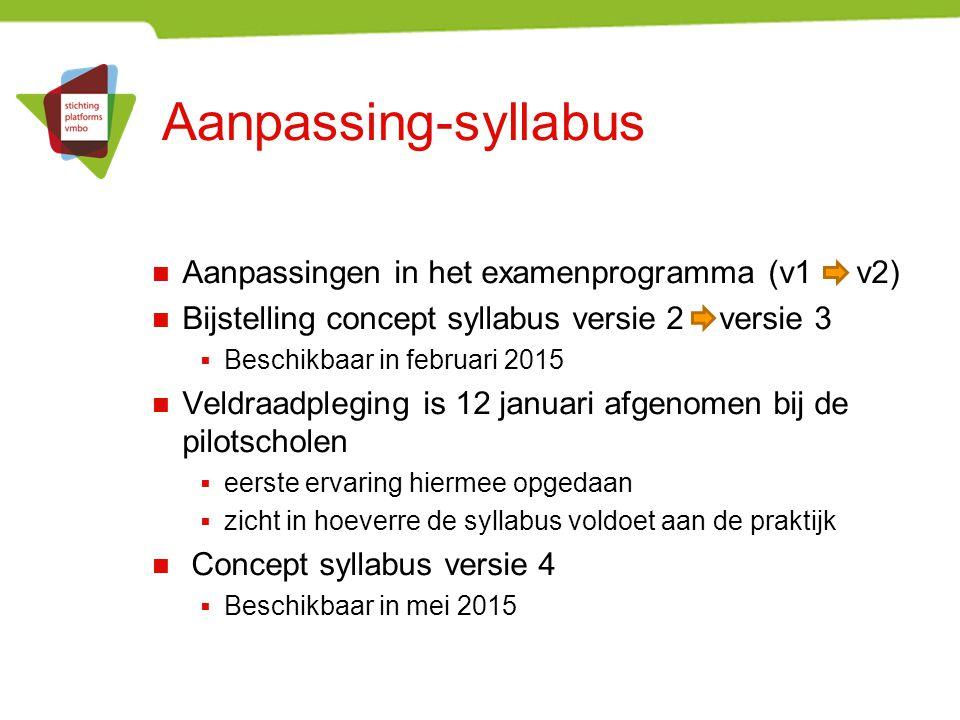 Aanpassing-syllabus Aanpassingen in het examenprogramma (v1 v2) Bijstelling concept syllabus versie 2 versie 3  Beschikbaar in februari 2015 Veldraad