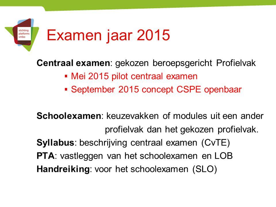 Examen jaar 2015 Centraal examen: gekozen beroepsgericht Profielvak  Mei 2015 pilot centraal examen  September 2015 concept CSPE openbaar Schoolexam