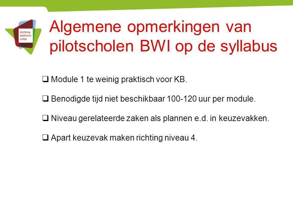 Algemene opmerkingen van pilotscholen BWI op de syllabus  Module 1 te weinig praktisch voor KB.  Benodigde tijd niet beschikbaar 100-120 uur per mod