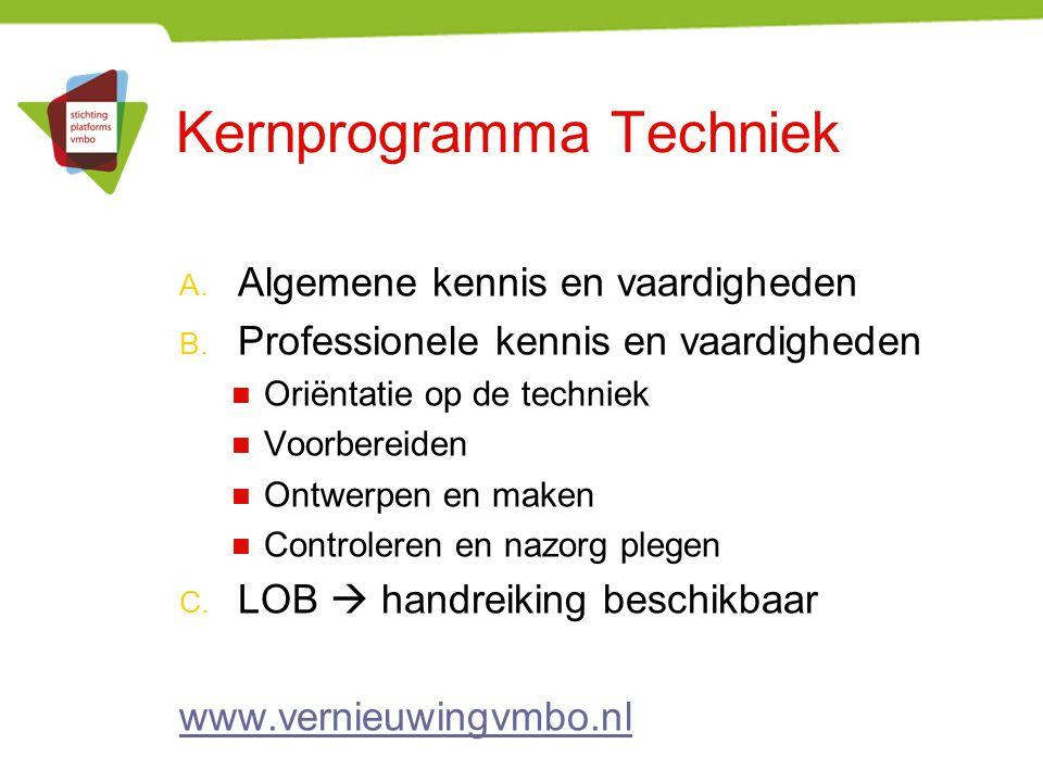 Kernprogramma Techniek A. Algemene kennis en vaardigheden B. Professionele kennis en vaardigheden Oriëntatie op de techniek Voorbereiden Ontwerpen en