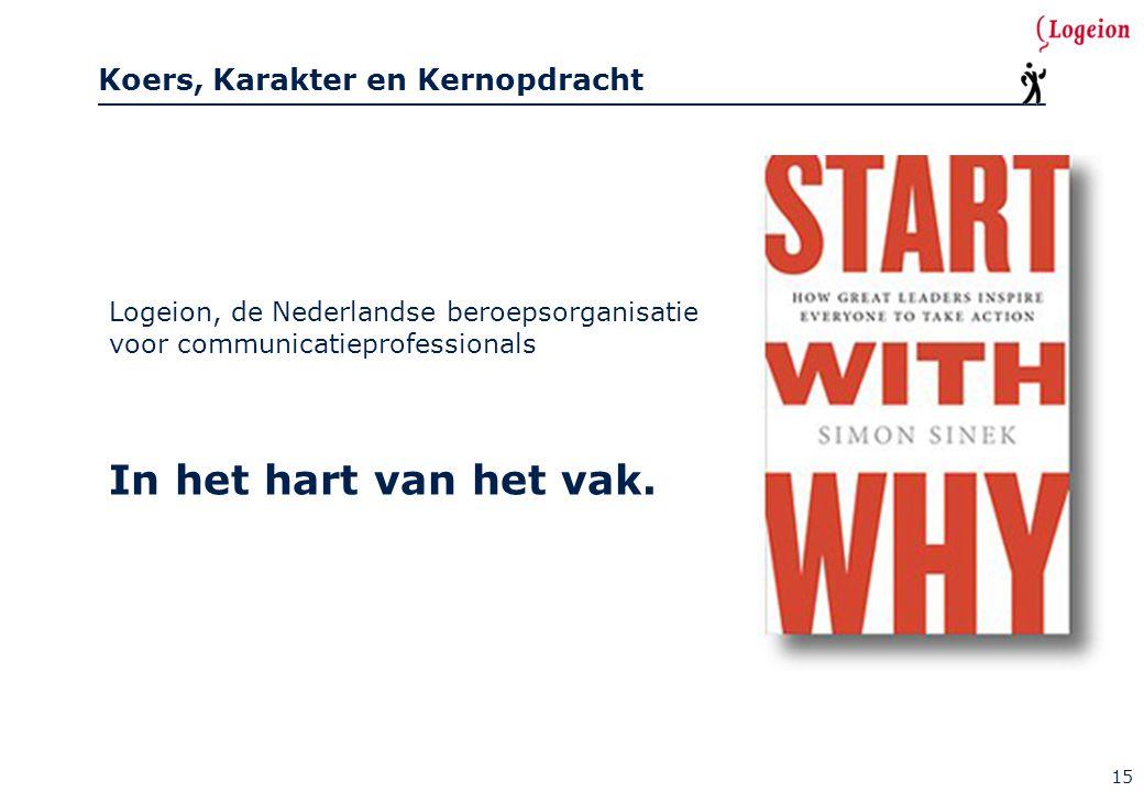 Koers, Karakter en Kernopdracht 15 Logeion, de Nederlandse beroepsorganisatie voor communicatieprofessionals In het hart van het vak.