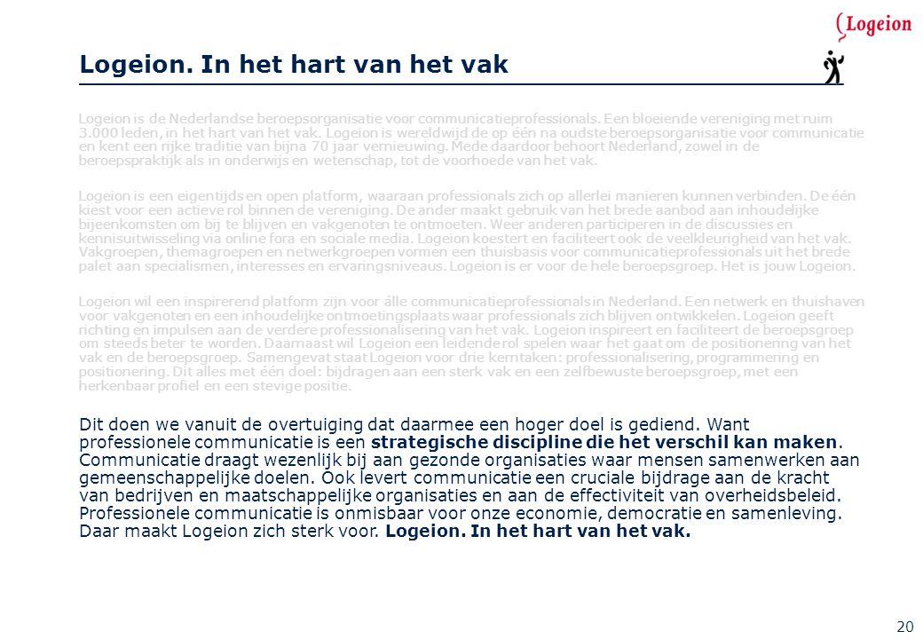 Logeion is de Nederlandse beroepsorganisatie voor communicatieprofessionals. Een bloeiende vereniging met ruim 3.000 leden, in het hart van het vak. L