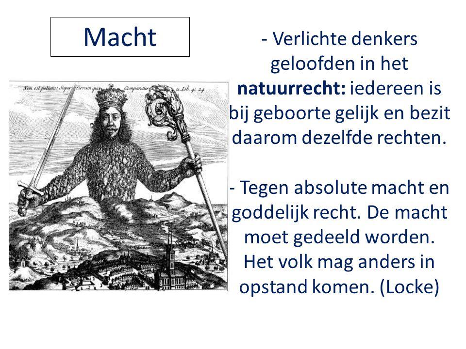 - Verlichte denkers geloofden in het natuurrecht: iedereen is bij geboorte gelijk en bezit daarom dezelfde rechten. - Tegen absolute macht en goddelij