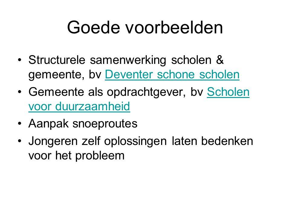 Goede voorbeelden Structurele samenwerking scholen & gemeente, bv Deventer schone scholenDeventer schone scholen Gemeente als opdrachtgever, bv Schole