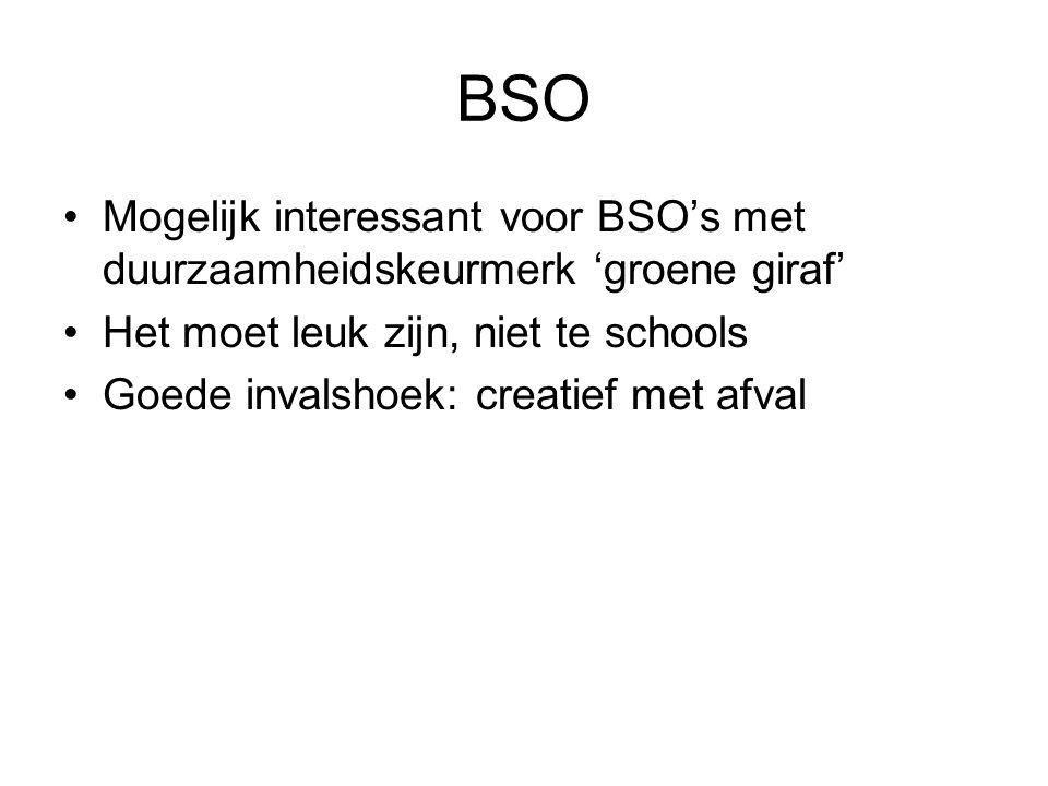 BSO Mogelijk interessant voor BSO's met duurzaamheidskeurmerk 'groene giraf' Het moet leuk zijn, niet te schools Goede invalshoek: creatief met afval