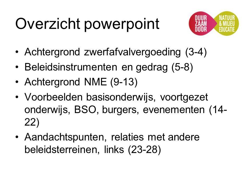 Overzicht powerpoint Achtergrond zwerfafvalvergoeding (3-4) Beleidsinstrumenten en gedrag (5-8) Achtergrond NME (9-13) Voorbeelden basisonderwijs, voo