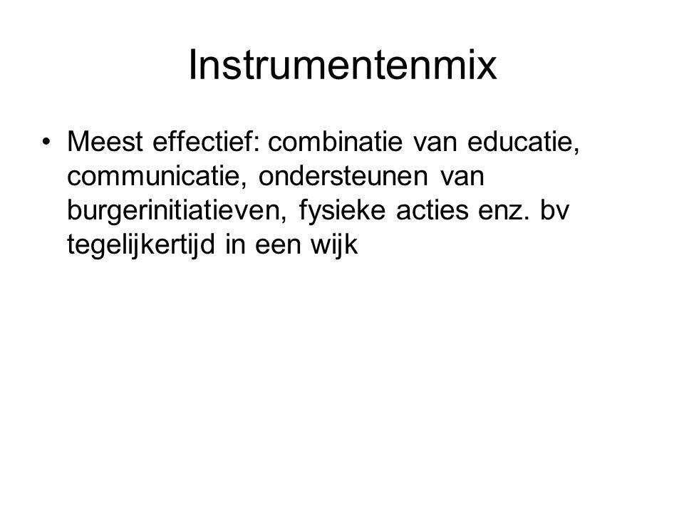 Instrumentenmix Meest effectief: combinatie van educatie, communicatie, ondersteunen van burgerinitiatieven, fysieke acties enz. bv tegelijkertijd in