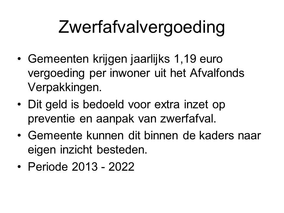 Zwerfafvalvergoeding Gemeenten krijgen jaarlijks 1,19 euro vergoeding per inwoner uit het Afvalfonds Verpakkingen. Dit geld is bedoeld voor extra inze