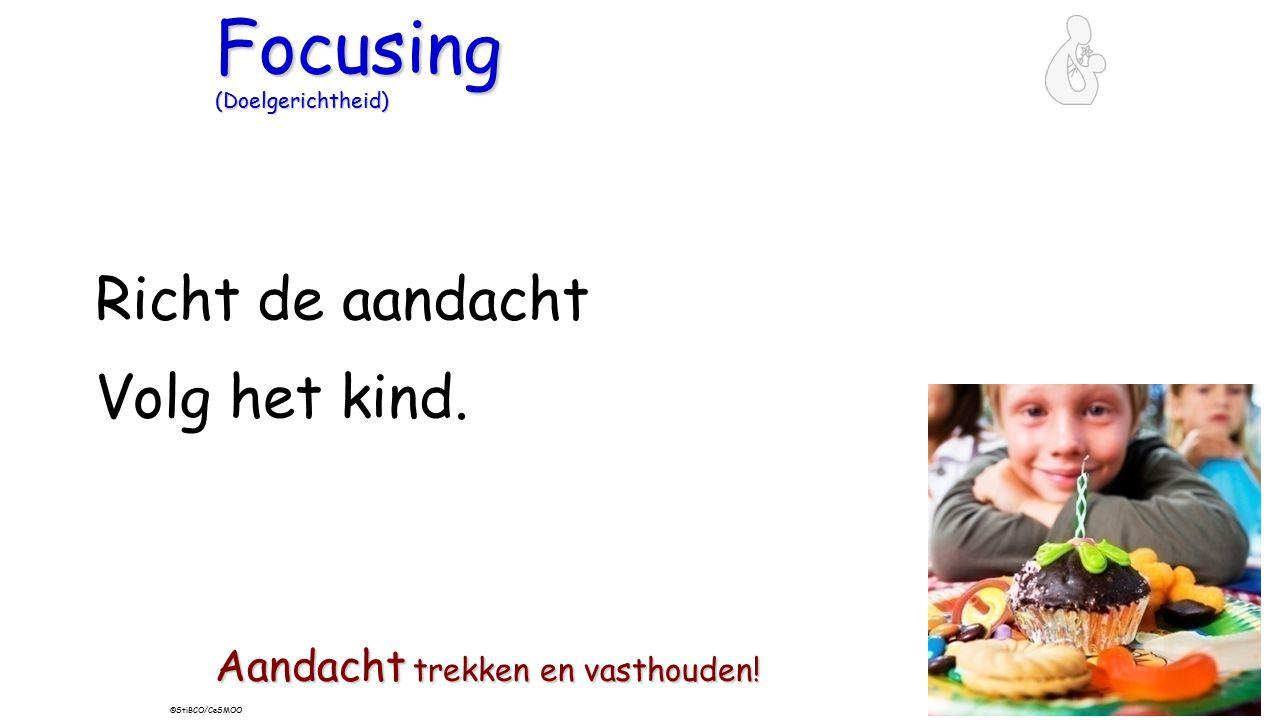 Focusing (Doelgerichtheid) Richt de aandacht Volg het kind. Aandacht trekken en vasthouden! ©StiBCO/CeSMOO