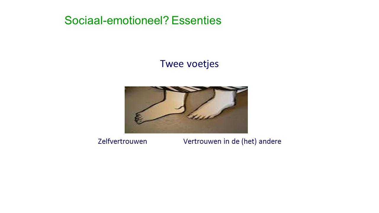 Sociaal-emotioneel? Essenties Twee voetjes Zelfvertrouwen Vertrouwen in de (het) andere
