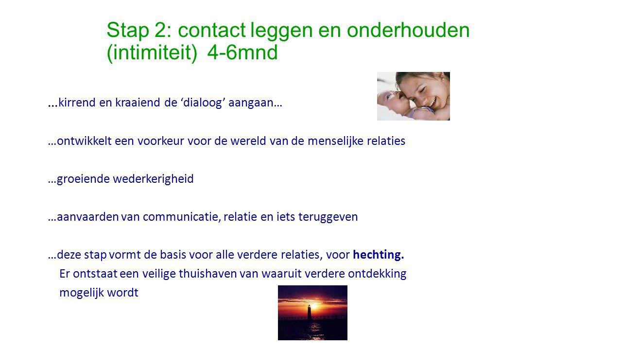 Stap 2: contact leggen en onderhouden (intimiteit) 4-6mnd … kirrend en kraaiend de 'dialoog' aangaan… …ontwikkelt een voorkeur voor de wereld van de m