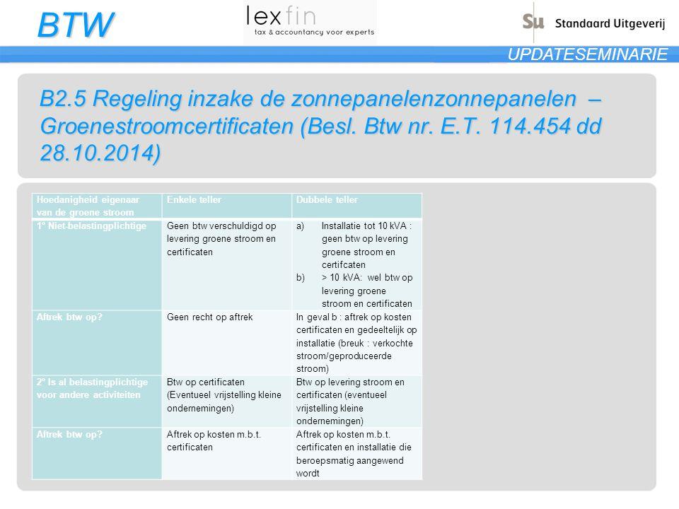 BTW UPDATESEMINARIE B2.5 Regeling inzake de zonnepanelenzonnepanelen – Groenestroomcertificaten (Besl. Btw nr. E.T. 114.454 dd 28.10.2014) Hoedanighei