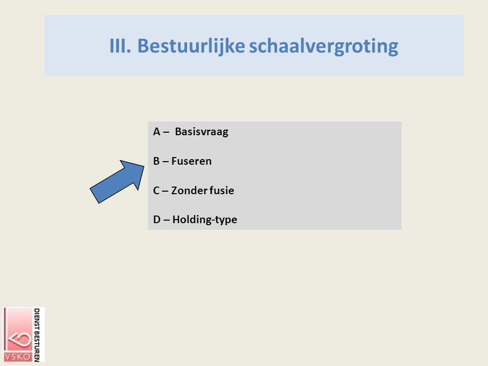 III. Bestuurlijke schaalvergroting A – Basisvraag B – Fuseren C – Zonder fusie D – Holding-type