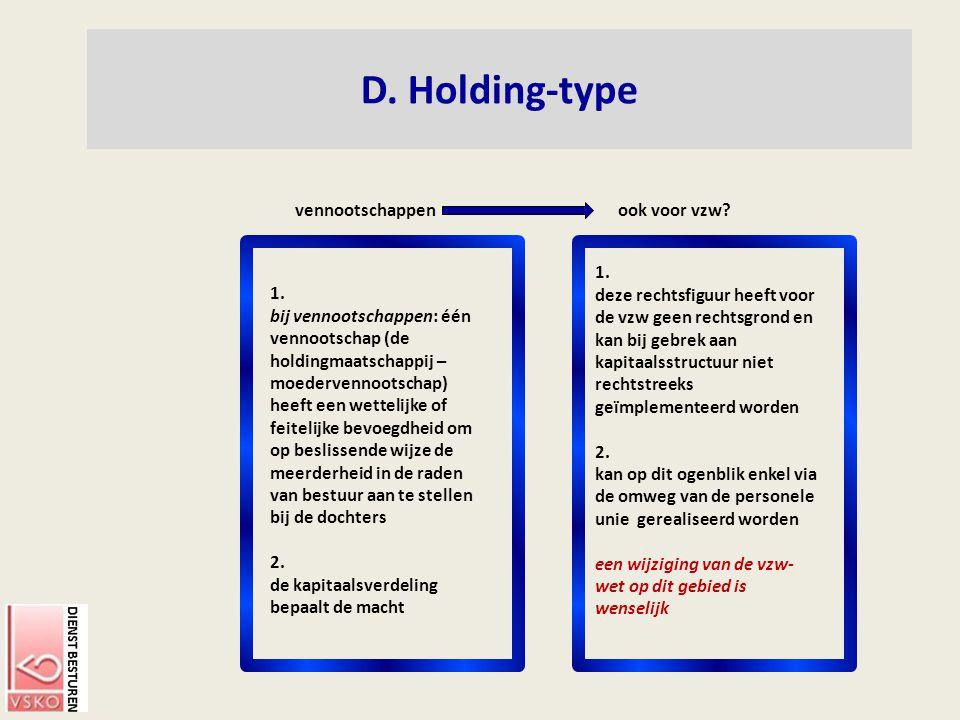 D. Holding-type ook voor vzw?vennootschappen 1. bij vennootschappen: één vennootschap (de holdingmaatschappij – moedervennootschap) heeft een wettelij