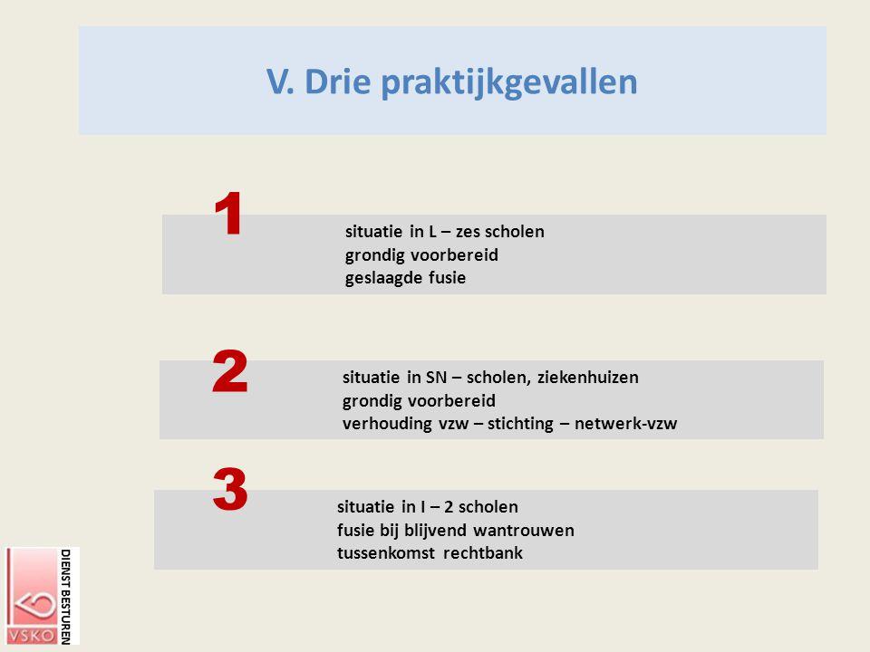 situatie in I – 2 scholen fusie bij blijvend wantrouwen tussenkomst rechtbank situatie in L – zes scholen grondig voorbereid geslaagde fusie V. Drie p