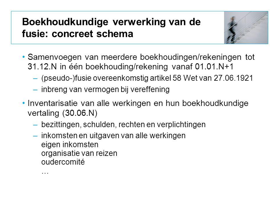 Boekhoudkundige verwerking van de fusie: concreet schema Samenvoegen van meerdere boekhoudingen/rekeningen tot 31.12.N in één boekhouding/rekening van