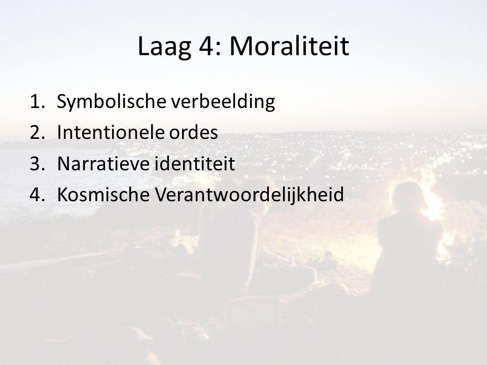 Laag 4: Moraliteit 1.Symbolische verbeelding 2.Intentionele ordes 3.Narratieve identiteit 4.Kosmische Verantwoordelijkheid