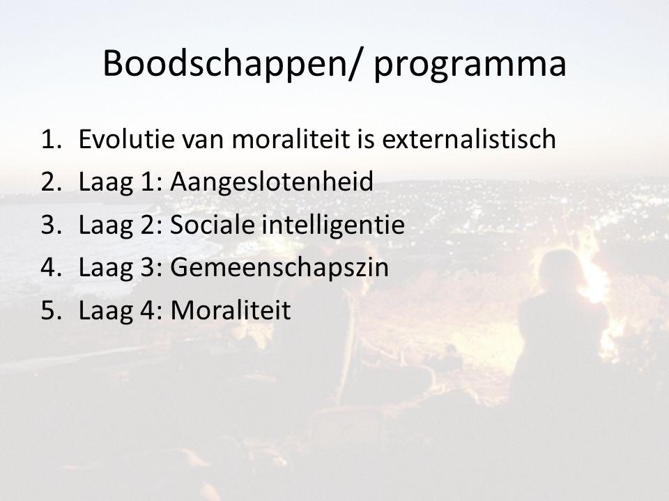Boodschappen/ programma 1.Evolutie van moraliteit is externalistisch 2.Laag 1: Aangeslotenheid 3.Laag 2: Sociale intelligentie 4.Laag 3: Gemeenschapszin 5.Laag 4: Moraliteit