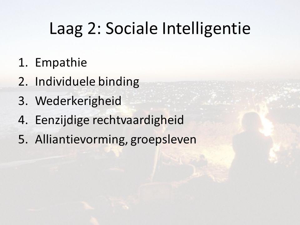 Laag 2: Sociale Intelligentie 1.Empathie 2.Individuele binding 3.Wederkerigheid 4.Eenzijdige rechtvaardigheid 5.Alliantievorming, groepsleven