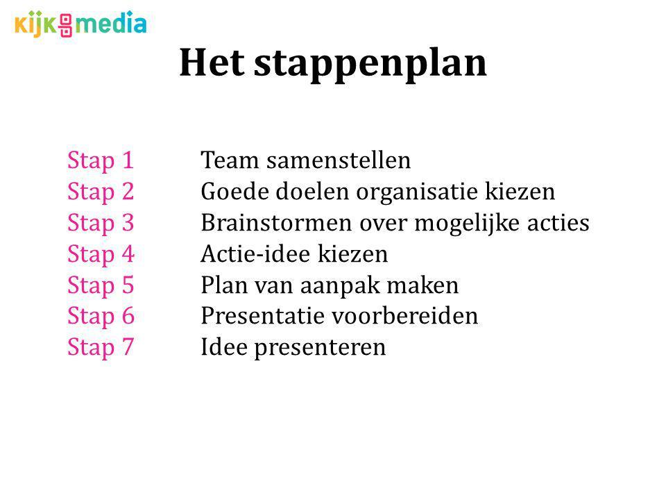 Het stappenplan Stap 1Team samenstellen Stap 2Goede doelen organisatie kiezen Stap 3Brainstormen over mogelijke acties Stap 4Actie-idee kiezen Stap 5P