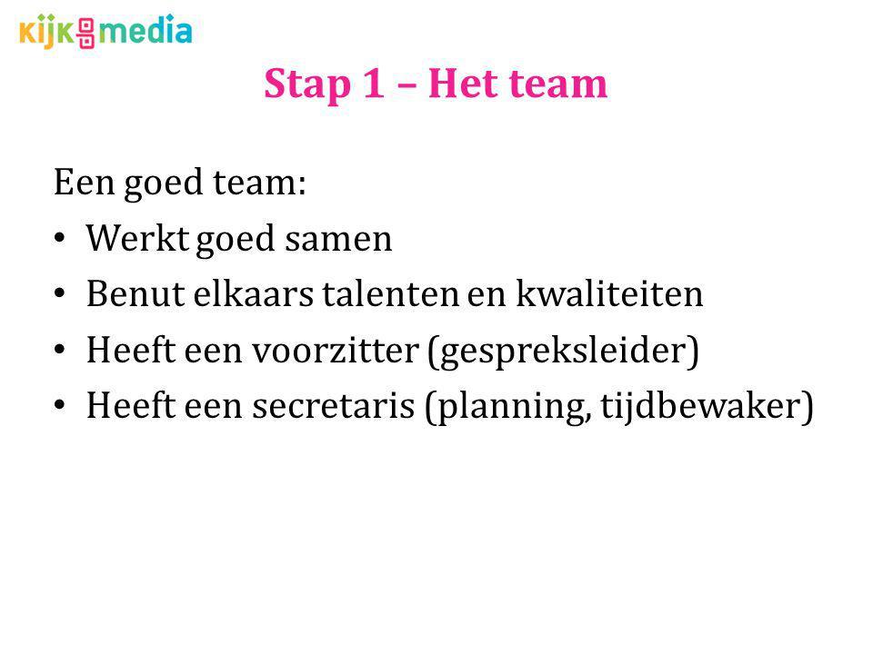 Stap 1 – Het team Een goed team: Werkt goed samen Benut elkaars talenten en kwaliteiten Heeft een voorzitter (gespreksleider) Heeft een secretaris (pl