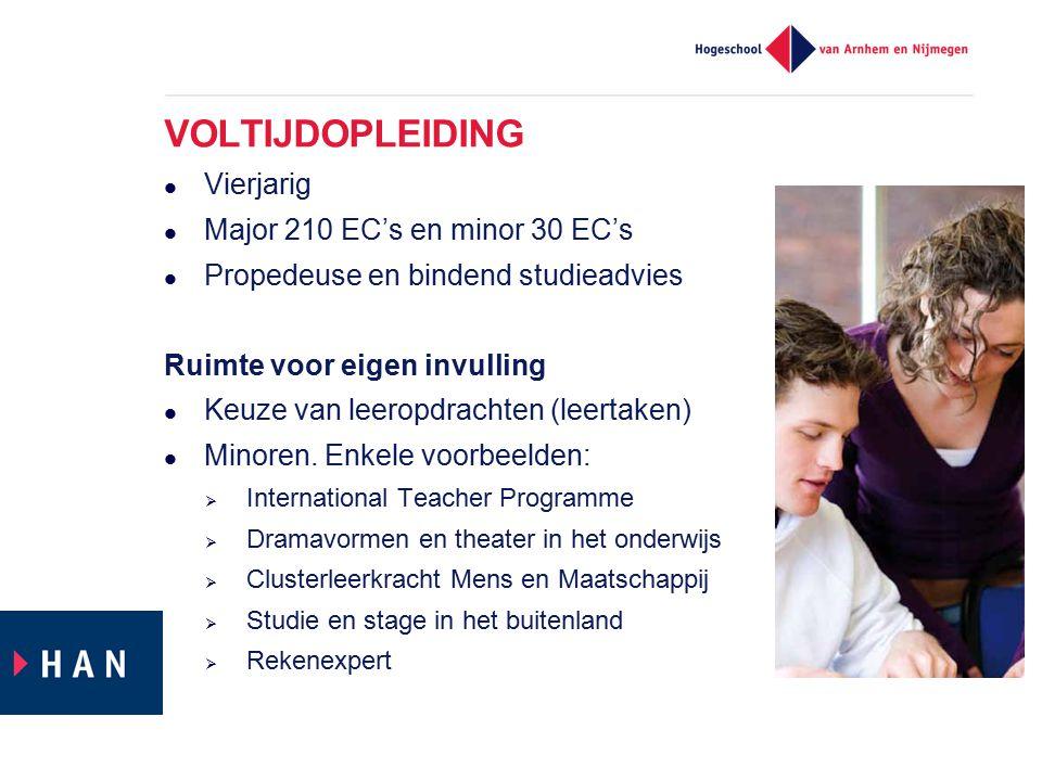 VOLTIJDOPLEIDING Vierjarig Major 210 EC's en minor 30 EC's Propedeuse en bindend studieadvies Ruimte voor eigen invulling Keuze van leeropdrachten (le