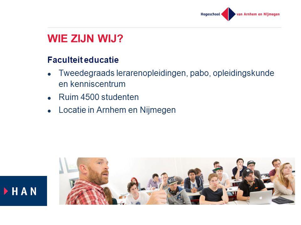 WIE ZIJN WIJ? Faculteit educatie Tweedegraads lerarenopleidingen, pabo, opleidingskunde en kenniscentrum Ruim 4500 studenten Locatie in Arnhem en Nijm