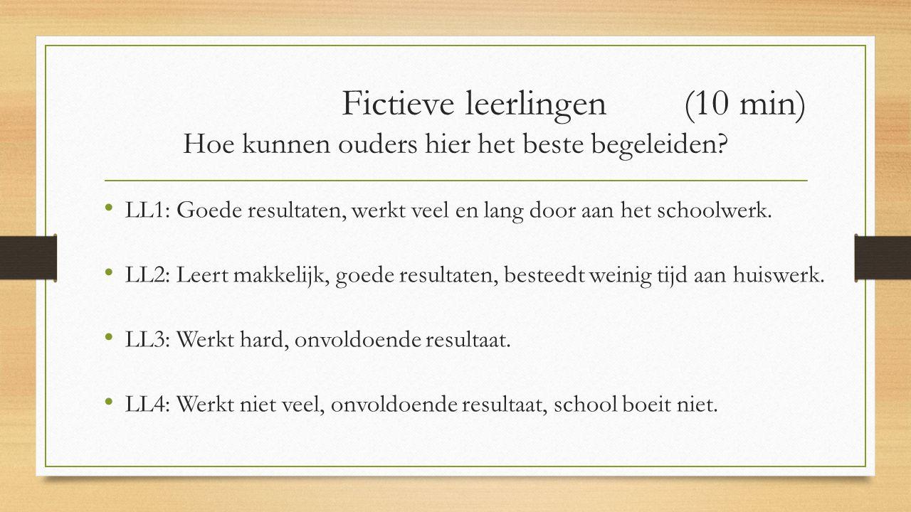Fictieve leerlingen (10 min) Hoe kunnen ouders hier het beste begeleiden? LL1: Goede resultaten, werkt veel en lang door aan het schoolwerk. LL2: Leer