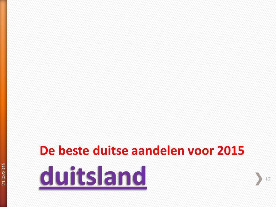 De beste duitse aandelen voor 2015 21/03/2015 10