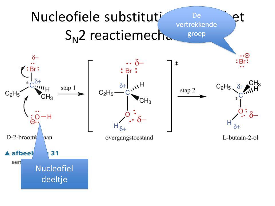 Nucleofiele substitutie volgens het S N 2 reactiemechanisme Nucleofiel deeltje Nucleofiel deeltje De vertrekkende groep