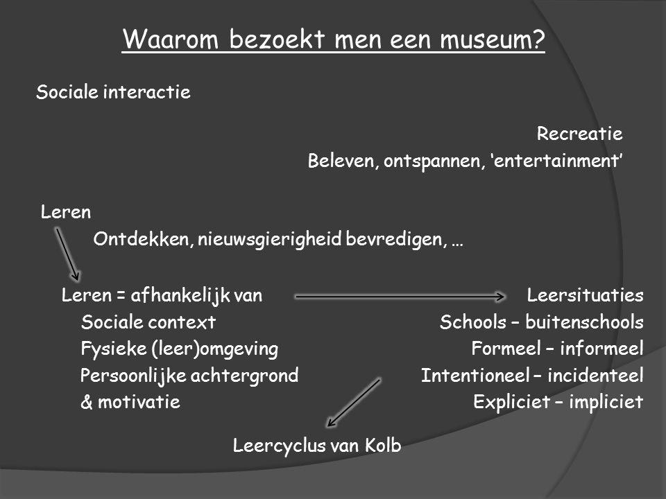 Leren Ontdekken, nieuwsgierigheid bevredigen, … Waarom bezoekt men een museum? Recreatie Beleven, ontspannen, 'entertainment' Sociale interactie Leers