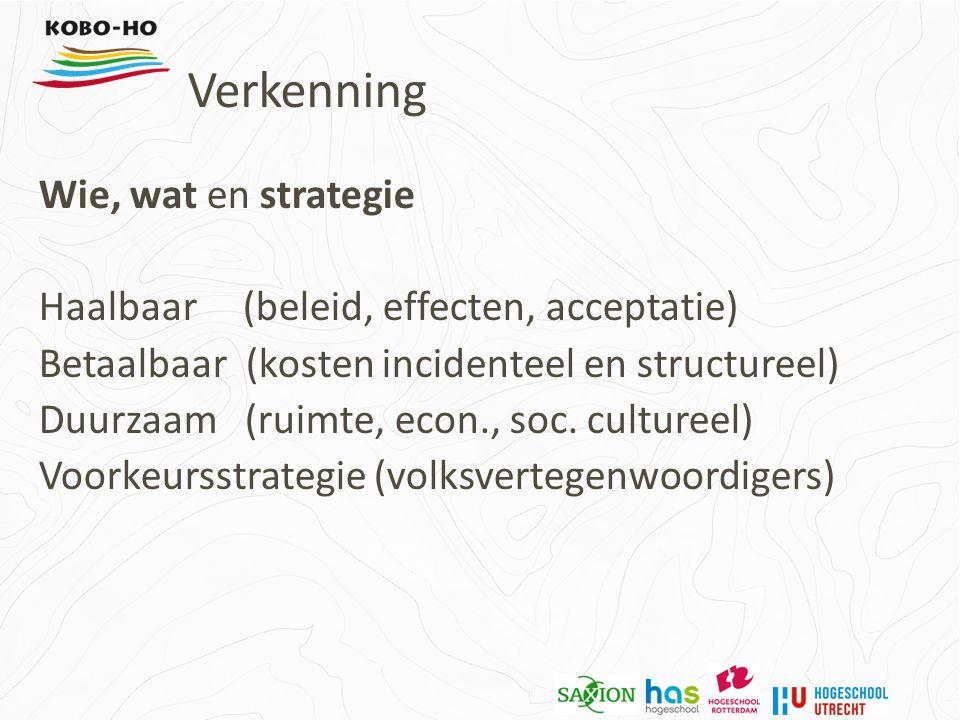 Wie, wat en strategie Haalbaar (beleid, effecten, acceptatie) Betaalbaar (kosten incidenteel en structureel) Duurzaam (ruimte, econ., soc.