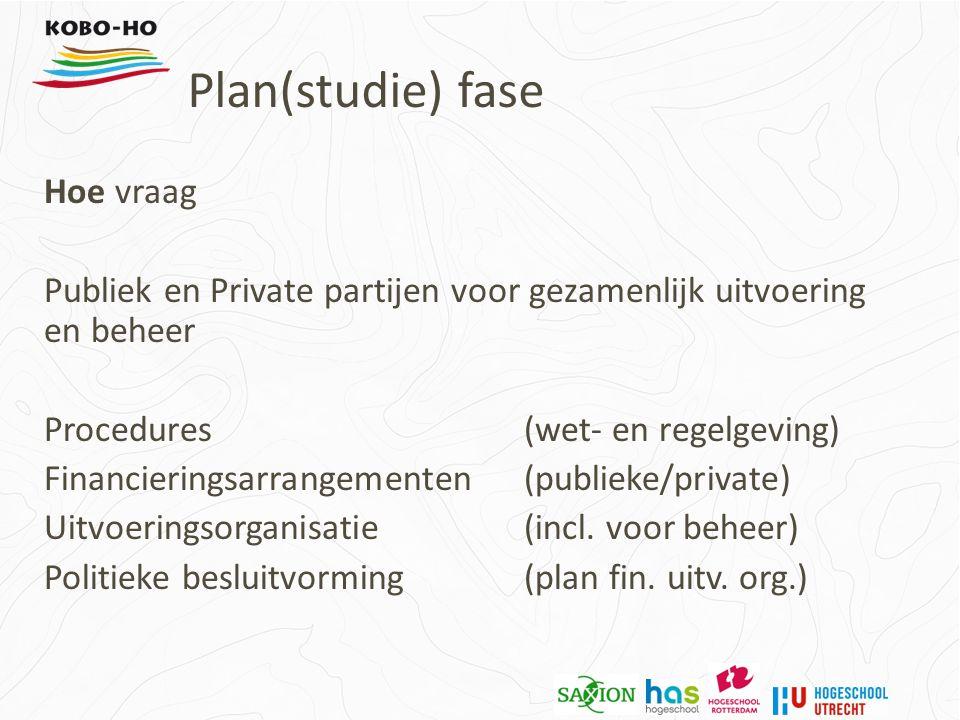 Hoe vraag Publiek en Private partijen voor gezamenlijk uitvoering en beheer Procedures (wet- en regelgeving) Financieringsarrangementen (publieke/private) Uitvoeringsorganisatie (incl.