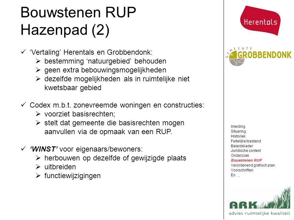 Bouwstenen RUP Hazenpad (2) Inleiding Situering Historiek Feitelijke toestand Beleidskader Juridische context Onderzoek Bouwstenen RUP Verordenend gra
