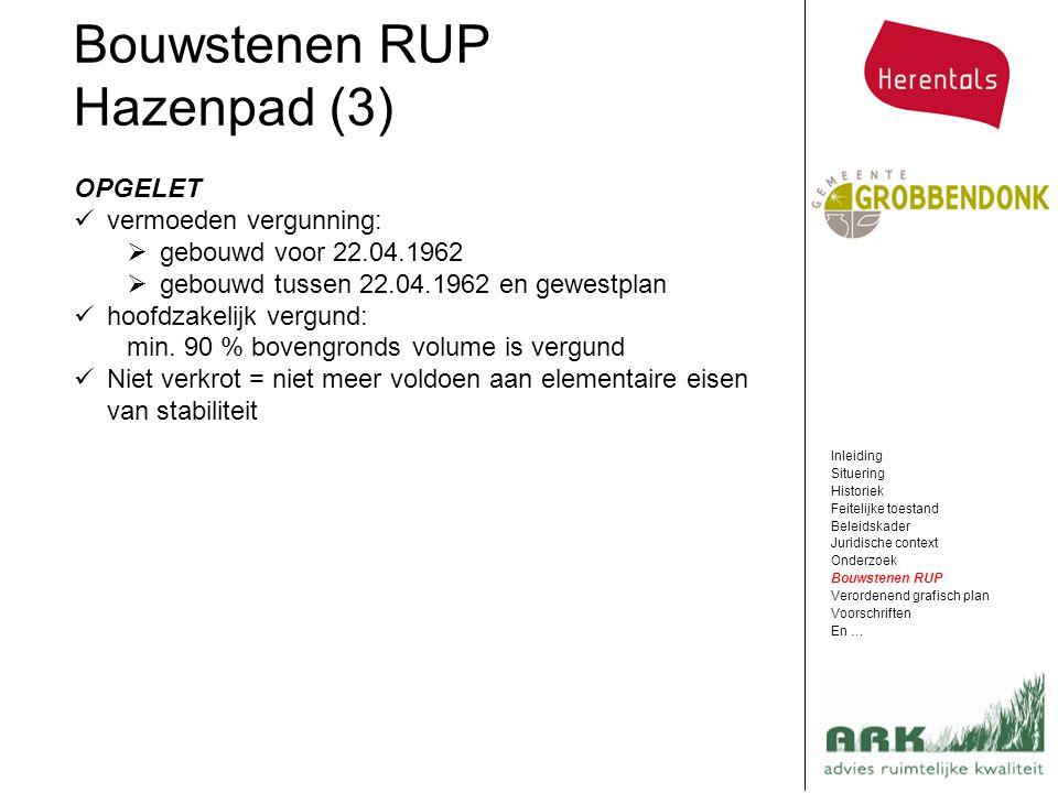 Bouwstenen RUP Hazenpad (3) Inleiding Situering Historiek Feitelijke toestand Beleidskader Juridische context Onderzoek Bouwstenen RUP Verordenend gra