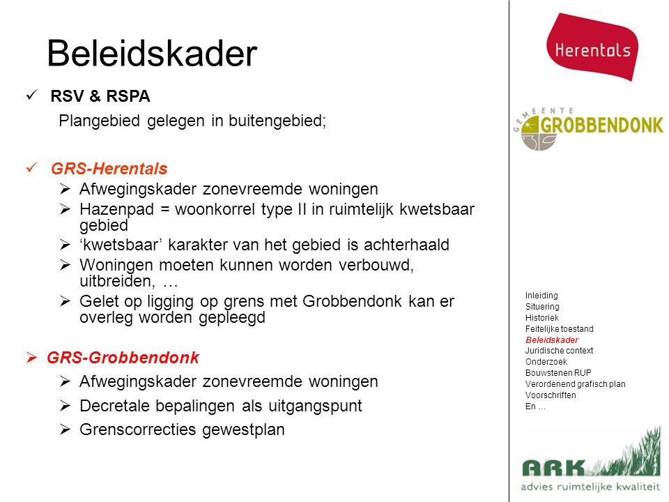 RSV & RSPA Plangebied gelegen in buitengebied; GRS-Herentals  Afwegingskader zonevreemde woningen  Hazenpad = woonkorrel type II in ruimtelijk kwets