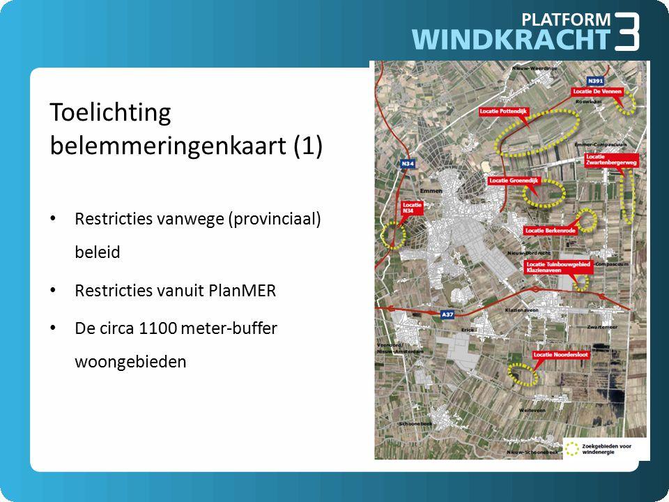 Toelichting belemmeringenkaart (1) Restricties vanwege (provinciaal) beleid Restricties vanuit PlanMER De circa 1100 meter-buffer woongebieden