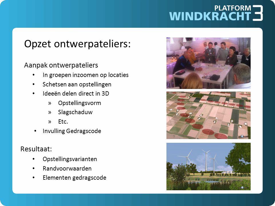 Opzet ontwerpateliers: Aanpak ontwerpateliers In groepen inzoomen op locaties Schetsen aan opstellingen Ideeën delen direct in 3D » Opstellingsvorm » Slagschaduw » Etc.