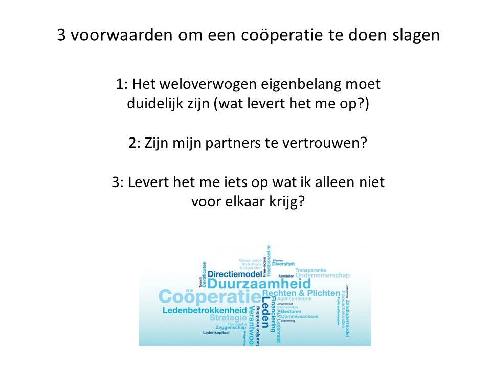 3 voorwaarden om een coöperatie te doen slagen 1: Het weloverwogen eigenbelang moet duidelijk zijn (wat levert het me op?) 2: Zijn mijn partners te vertrouwen.