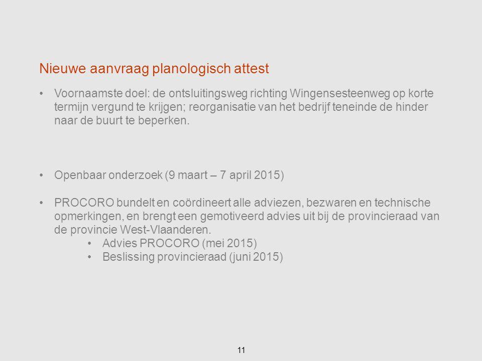 Voornaamste doel: de ontsluitingsweg richting Wingensesteenweg op korte termijn vergund te krijgen; reorganisatie van het bedrijf teneinde de hinder n