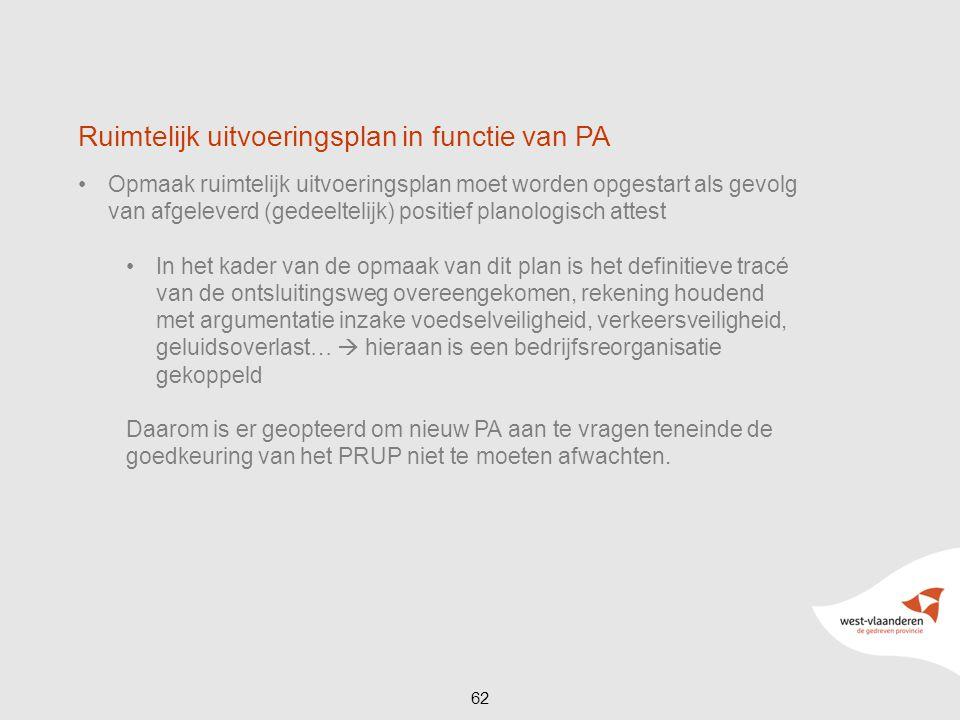 62 Ruimtelijk uitvoeringsplan in functie van PA Opmaak ruimtelijk uitvoeringsplan moet worden opgestart als gevolg van afgeleverd (gedeeltelijk) posit