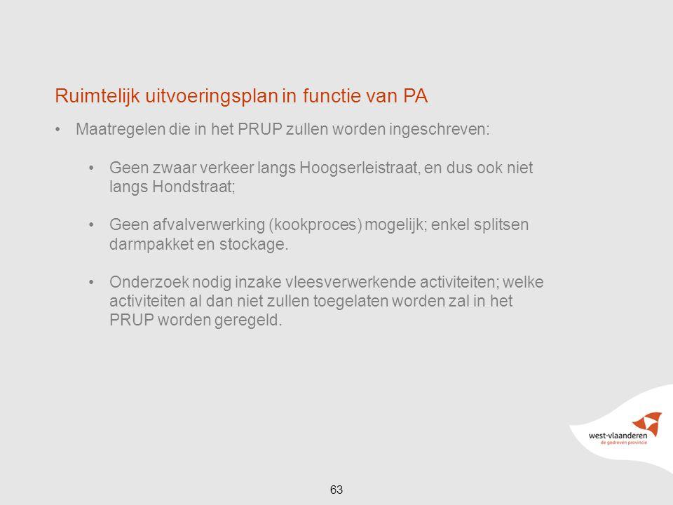 63 Ruimtelijk uitvoeringsplan in functie van PA Maatregelen die in het PRUP zullen worden ingeschreven: Geen zwaar verkeer langs Hoogserleistraat, en