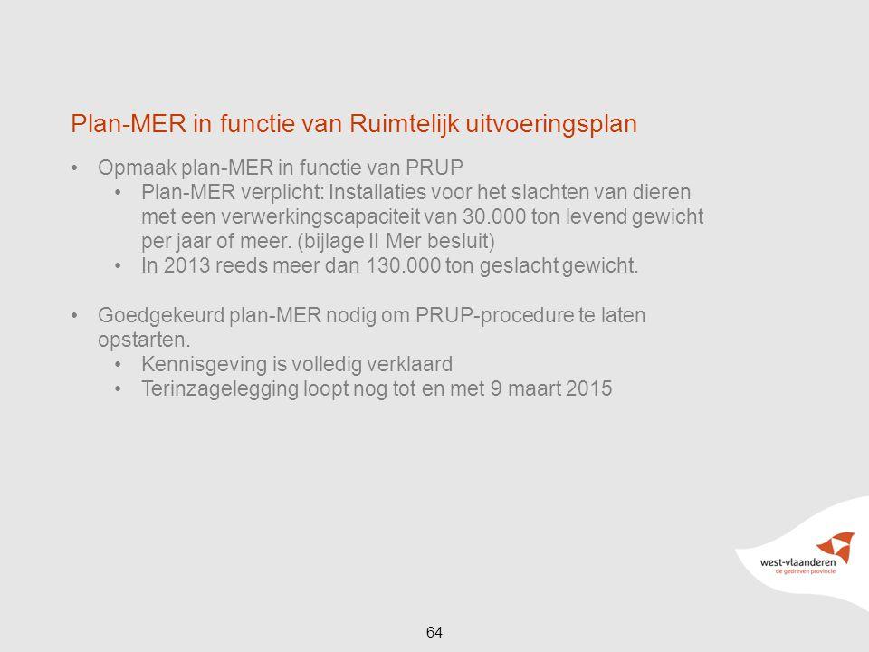 Opmaak plan-MER in functie van PRUP Plan-MER verplicht: Installaties voor het slachten van dieren met een verwerkingscapaciteit van 30.000 ton levend