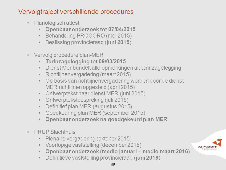 Planologisch attest Openbaar onderzoek tot 07/04/2015 Behandeling PROCORO (mei 2015) Beslissing provincieraad (juni 2015) Vervolg procedure plan-MER T