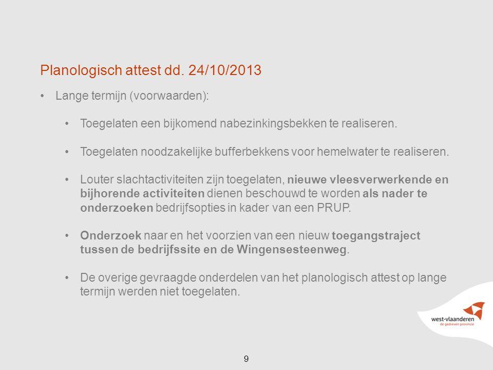 Planologisch attest dd. 24/10/2013 Lange termijn (voorwaarden): Toegelaten een bijkomend nabezinkingsbekken te realiseren. Toegelaten noodzakelijke bu