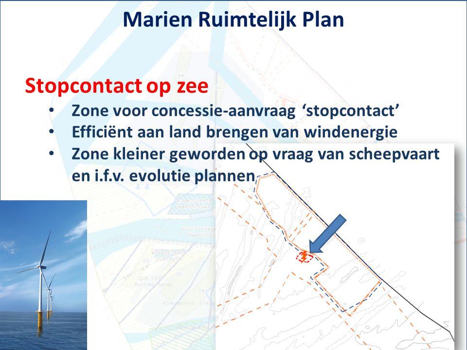 Marien Ruimtelijk Plan Stopcontact op zee Zone voor concessie-aanvraag 'stopcontact' Efficiënt aan land brengen van windenergie Zone kleiner geworden