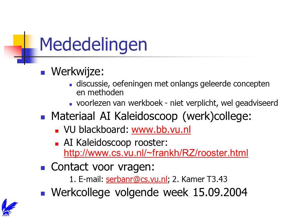 Mededelingen Werkwijze: discussie, oefeningen met onlangs geleerde concepten en methoden voorlezen van werkboek - niet verplicht, wel geadviseerd Materiaal AI Kaleidoscoop (werk)college: VU blackboard: www.bb.vu.nlwww.bb.vu.nl AI Kaleidoscoop rooster: http://www.cs.vu.nl/~frankh/RZ/rooster.html http://www.cs.vu.nl/~frankh/RZ/rooster.html Contact voor vragen: 1.