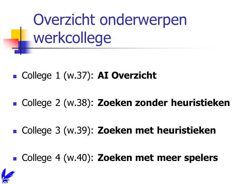 Overzicht onderwerpen werkcollege College 1 (w.37): AI Overzicht College 2 (w.38): Zoeken zonder heuristieken College 3 (w.39): Zoeken met heuristieken College 4 (w.40): Zoeken met meer spelers