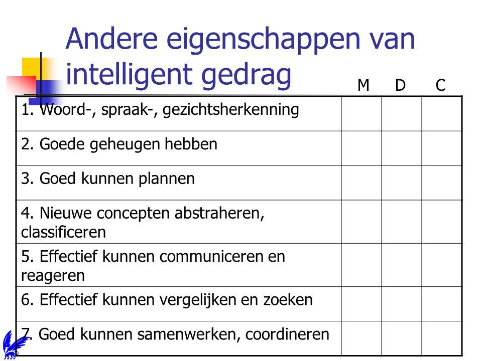 Andere eigenschappen van intelligent gedrag 1. Woord-, spraak-, gezichtsherkenning 2.